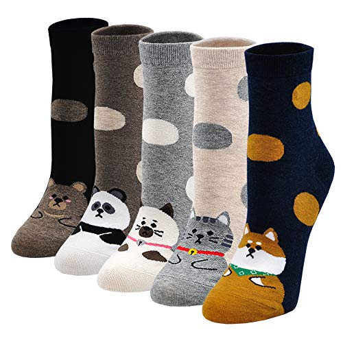 ZFSOCK Damen Bunte Socken Lustige Socken mit Motiv Karikatur Tier Witzige Niedlich Katze H& Coole Socken Baumwolle Weihnachten Geschenkideen für Frauen Mädchen 5 Paare