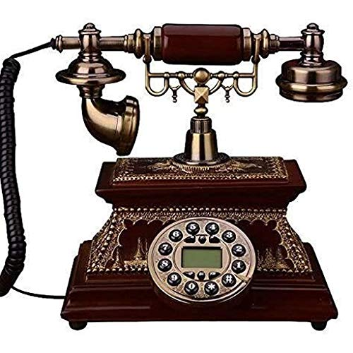 VERDELZ Teléfono Fijo Fijo Teléfono Inicio Retro Botón Dial Teléfono Fijo Fijo Europeo Madera Maciza Teléfono Clásico