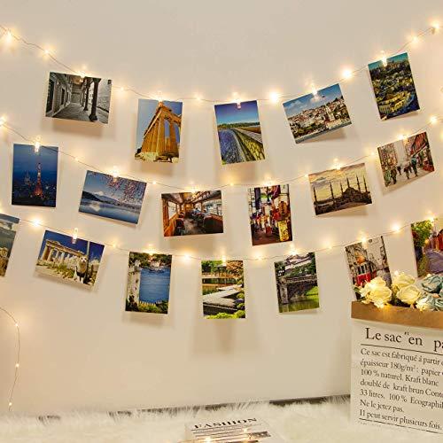 12M 120LED Fotoclips Lichterkette,kolpop USB Lichterkette für Zimmer Deko Fotos Lichterkette Wand mit 60 Klammern Lichterkette Bilder Batteriebetriebene für Wohnzimmer,Weihnachten,Hochzeiten-Warmweiß