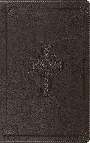 ESV Large Print Thinline Bible (TruTone, Charcoal, Celtic Cross Design)