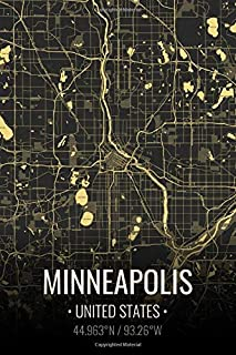 Minneapolis United States: City Map Notebook for Travelers Writing Sheets Notebook | Lined Notebook Journal | Back To School Gift 6x9 Inches | 100 Pages