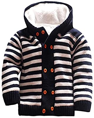 Baby Girls Boys Cotton Knit Stripes Hoodie Sweater Toddler Kids Plush Fleece Outerwear Sweater, Navy Blue, Age 2T-3T (2-3 Years) = Tag 4A