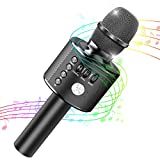 Tesoky Kids Microphone,Best Wireless Bluetooth Karaoke Machine for Kids Fun Toys at Party Home,Portable Handheld Microphone Best Indoor Outdoor Toys Gifts for Kids Age 3 4 5 6 7 8 9 10 (Black)