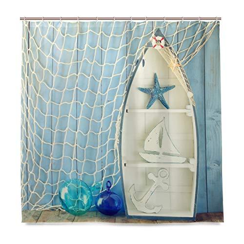 Wamika Badezimmer Dusche Vorhang Nautisches Boot Form Regalen Design Haltbarer Stoff Bad Vorhänge Schimmelresistent Wasserdicht Badezimmer 12Haken 183,0cm x183,0cm