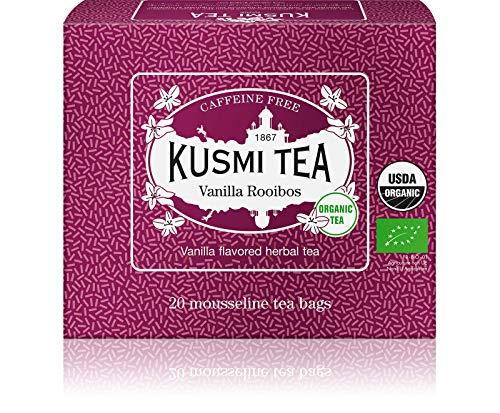 Kusmi Tea - Infusión ecológica Rooibos Vainilla - Rooibos procedente de la agricultura ecológica - Infusión dulce y generosa, sin teína, a granel - Caja de 20 bolsitas