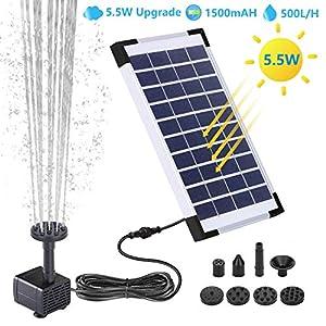 AISITIN Fuente Solar Bomba, 5.5W Fuente de Jardín Solar, Batería Incorporada, Caudal 500 L/H, con 6 Boquillas y Tabla…