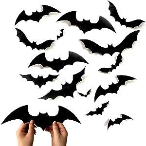 60PCS Bats Wall Decor Halloween 3D Bats Decoration Scary Bats Wall Decal Wall Sticker 4 Sizes Realistic PVC Scary Black Bat Sticker Halloween Eve Decor Home Window Decoration Set