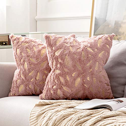 MIULEE Pack of 2 Decorative Throw Pillow Covers Plush Faux Fur with Gold Feathers Gilding Leaves Cushion Covers Cases Soft Fuzzy Cute Pillowcase for Couch Sofa Bed, 20 x 20 Inch, Heather Pink