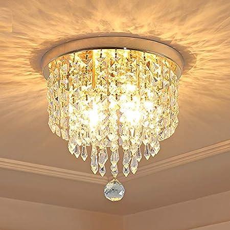Depuley Lustre Plafonnier Cristal de Salon à Design Moderne, Lampe de Plafond Diamant Argenté pour Chambre à Coucher, Salle à Manger et Escalier, Cuisine, Hall, Chambre (Ampoules NON Incluses G9*3)