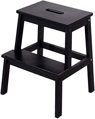 Échelle de ménage à usage double échelle de ménage échelle en bois massif échelle de fenêtre à pédale en 2 étapes pour tabouret, couleur en option (Couleur   Noir)
