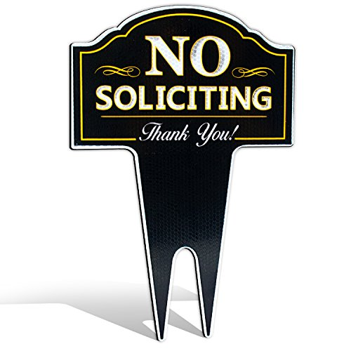 Signs Authority ultra reflective no soliciting outdoor metal yard sign for home, house and business, stylish laser cut, made with heavy duty dibond aluminum