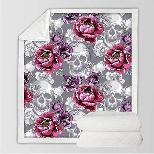 DJSK Sugar Skull Throw Blanket Mantas Florales para la Cama Flor de peonía Manta Rosa Manta de Felpa Gris Colcha de Cama 150 * 200cm