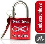 ABUS Schloss mit Gravur I ideales Hochzeitsgeschenk - Liebesschloss mit Gravur und Schlüssel - rot