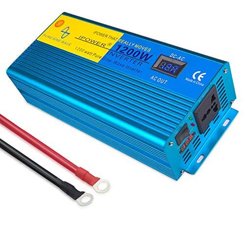 1200W / 2400W Watt Watt Onda SINE SINE Inverter 12V a 230V 220V convertidor de Corriente con un convertidor de Corriente con Pantallas LCD 2ac Outlets para autocarav