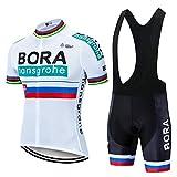 Conjunto Ropa Ciclismo Hombre, Traje MTB Maillot Bicicleta Mangas Cortas+5D Gel Culotte Pantalones Cortos Verano Equipacion Ciclismo