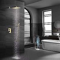 LGR バスモダン隠しシャワーセットハンドヘルドシャワーシステム壁内埋め込みボックスシャワーメタルブラッシュドゴールド2ファンクションホーム
