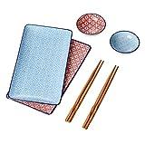 vancasso Macaron Set Piatti Sushi in Ceramica 6 pezzi Stile Giapponese, Dinpinto a Mano Servizio da Sushi per 2 persone Con 2 Piattini per Salse 2 Piatti da Sushi 2 Bacchette di bambù Colore Blu Rosa