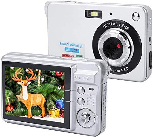 Digitalkamera COMS Sensor 18MP, HD Digitale Videokamera Kompaktkamera mit 8-Fach Zoom, 2,7 Zoll Bildschirm, USB 2,0, Eingebautem Lautsprecher, Batterie Betriebene für Senioren/Kinder(Silber)