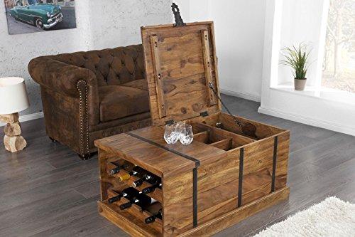 DuNord Design Couchtisch Hausbar Bonaire 100cm Palisander Sheesham Massivholz Truhe Bar - 4