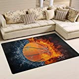 Linomo Area Rug Galaxy Basketball Sport Ball Floor Rugs Doormat Living Room Home Decor, Carpets Area Mats for Kids Boys Girls Bedroom 31 x 20 Inches