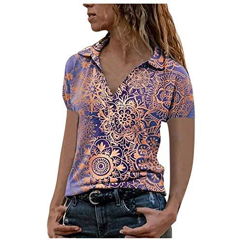 Blusa de Mujer Moda Camisas Elegante Verano Suelto Escote en Pico Camiseta de Manga Corta Impreso Cremallera Top Casual Fashion T-Shirt (S, Morado#2)