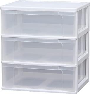 アイリスオーヤマ チェスト ワイド 3段 幅63×奥行50×高さ69cm ホワイト / クリア 白 プラスチック N653