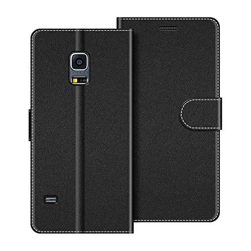 COODIO Custodia per Samsung Galaxy S5 Mini, Custodia in Pelle Samsung Galaxy S5 Mini, Cover a Libro Samsung S5 Mini Magnetica Portafoglio per Samsung Galaxy S5 Mini Cover, Nero