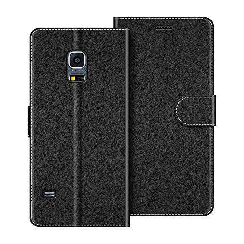 COODIO Custodia per Samsung Galaxy S5 Mini, Custodia in Pelle Samsung Galaxy S5 Mini, Cover a Libro Samsung S5 Mini Magnetica Portafoglio per Samsung Galaxy S5 Mini Cover, Nero