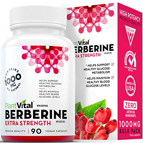 New! Berberine 1000mg Supplement. 90 Vegan Capsules. High Potency. Provides support for healthy glucose metabolism and helps to maintain healthy blood glucose levels. Certified Vegan & Non-GMO.
