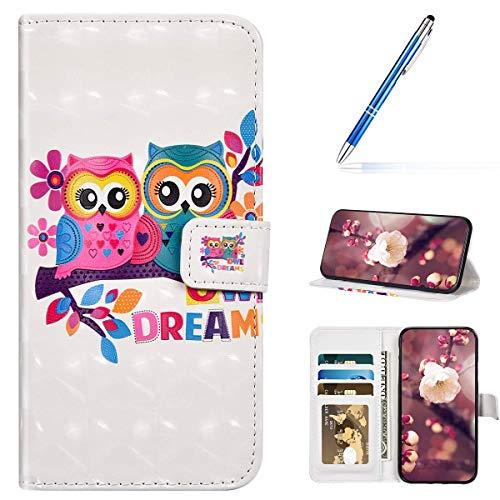 URFEDA Kompatibel mit Samsung Galaxy S7 Edge Handyhülle Handytasche 3D Bunt Bling Glitzer Glänzend Muster Leder Hülle Klapphülle Brieftasche Schutzhülle Bookstyle Tasche Case Cover,Niedlich Eule