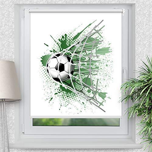 La-Melle » Rollo Motiv Fußball | Verschiedene Größen | Klemmrollo ohne Bohren | auch für Wand- oder Deckenbefestigung, Größe: B 100 x H 120 cm