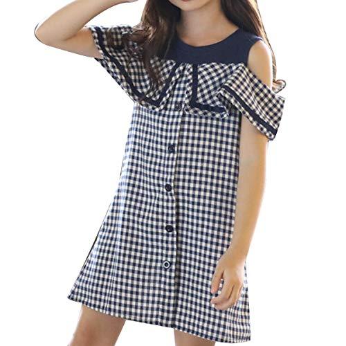 2-9T Trajes de Verano para niñas pequeñas Fuera del Vestido a Cuadro