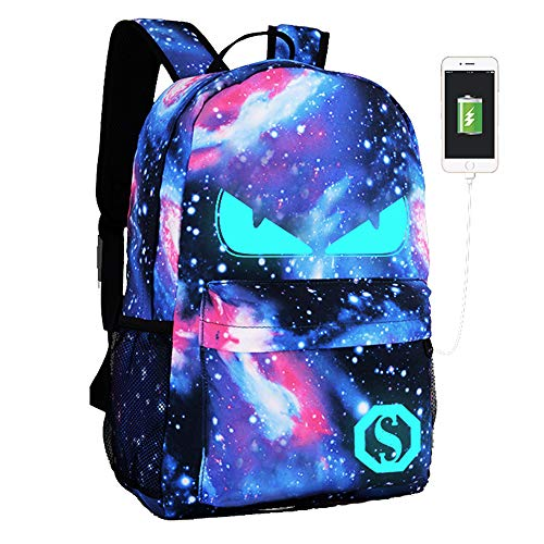 Lmeison Anime Luminous Backpacks, Galaxy Backpack for Boys Girls, School Bookbags with USB Charging Port & Pencil Case Fits 15.6 inch Laptop Bag, Anti-Theft Travel Daypack College Student Rucksack