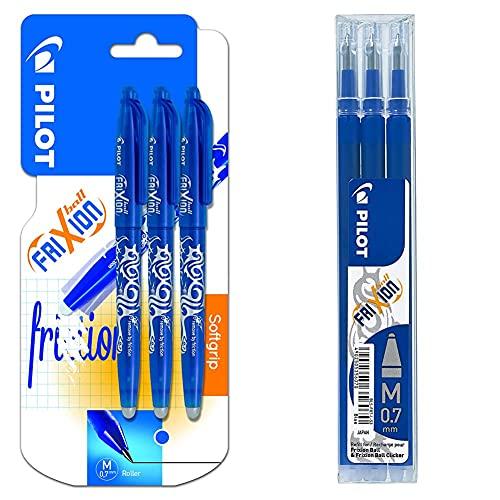 Pilot Frixion Ball Pack De 3 Bolígrafos Roller Borrables (3 Unidades, 0,7 Mm, Tinta De Gel Azul), Color Azul + Bls-Fr7-L-S3 Recambio Frixion, Color Azul, Paquete De 3 Unidades