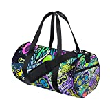 MIGAGA Gym Bag,Bolsa de Deporte Colores neón Brillantes con Lindos Elementos de Dibujo a Mano Hipsters,Nuevo Cubo con Estampado de Lienzo Bolsa de Deporte Bolsas de Fitness Bolsa de Viaje de Lona