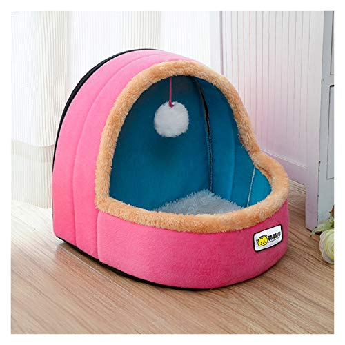 Pet Dog Cat Bed Warm Soft Pet Mat Puppies House With Toy Ball Dog Kennel Cat Castle (Color : A, Size : M)