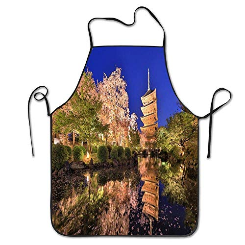 XCNGG Delantal de Cocina Kitchen Baking Personality Apron Restaurant Chef Garden Handmade Apron Japan Togakushi Lake Mountains Trees Autumn