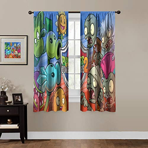 Blackout Curtains for Anime Fans,Rod Pocket Thermal Insulated Darkening Window Drapes for Bedroom,Game Plants Vs Zombies 2 Boys Girls Room Décor,(2 Panels,55x45 inches)