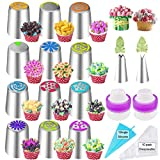27Pcs Russian Piping Tips Set,Flower Frosting Tips for Cake Cupcake Decorating,12Russian Icing Tips,2Leaf Piping Tips,10Disposable Pastry Bags,1Reusable Silicone Pastry Bag,2Couplers Baking Supplies