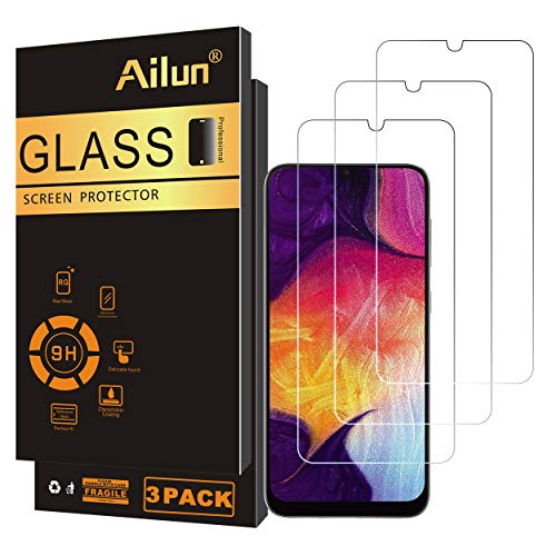 Ailun Screen Protector Compatible for Samsung Galaxy A50,A30,A50s,A30s,A40,M30,M31 Tempered Glass Screen Protector 3Pack 9H Hardness 2.5D Edge,Case Friendly