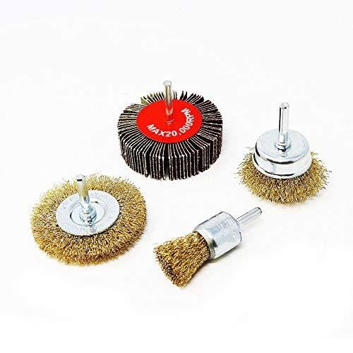 Toolman 4PC Crimped Wire Brush Set Steel Knotted Wire Brush Flap Wheels Universal fit for Power Drill XTH012