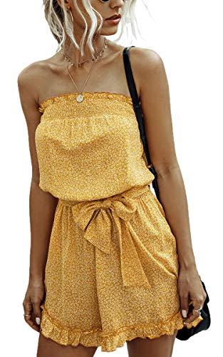 Spec4Y Damen Trägerloses Romper Blumendruck Jumpsuit Kurz Bandeau Overall Rückenfreies Rüschen Elastische Taille Strampler mit Gürtel 2002 Gelb Medium