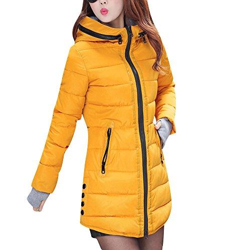 Abrigo de Invierno Cremallera Acolchado Chaqueta Largo con Capucha de Manga Larga para Mujer S Amarillo