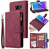 CHICASE Wallet Case for Galaxy Note 4,Samsung Note 4 Case,Leather Handbag Zipper Pocket Card Holder Slots Wrist Strap Flip Protective Phone Cover for Samsung Galaxy Note 4(Wine Red)