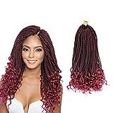 Ling Xiu Senegalese Crochet Hair Curly Ends Goddess Crochet Braids Synthetic Box Braids Crochet Hair 18 Inch 5Packs 30Strands/Pack Senegalese Twist Curly Goddess(99J)