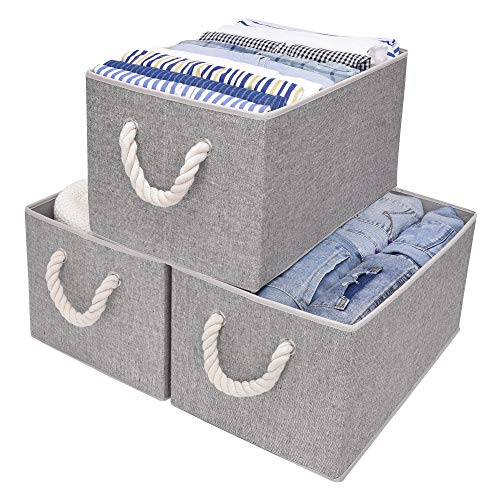 StorageWorks Cotton Storage Bins with Cotton Rope Handles, Closet Bin, Rectangle, Gray, 3-Pack, Jumbo