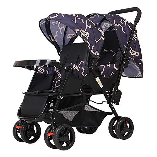 Poussetter Yhz@ Double Chariot pour bébé, jumelle Double Chariot pour bébé Pliant léger avec Assiette pour dîner Couleur : Blue(1)