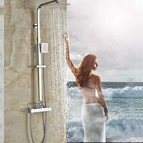 Mezclador de ducha de níquel cepillado de temperatura constante, mezclador de pared para ducha en el baño con ducha de mano
