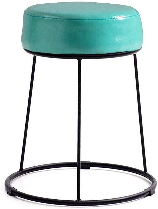 Carl Artbay Footstool PU Blue Cushion High 46cm Soft Surface Thickening Household Stool Dressing Stool Round Stool Iron Stool Home