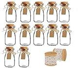 Amajoy frasco de vidrio vintage con tapas de corcho, arpillera y cinta de encaje [botella de leche y frasco decorativo] para decoración de fiesta de boda y fiesta del bebé [12 piezas] [biege]